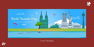 Flat cover page template of world tourism day