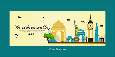 Flat cover template for world tourism day