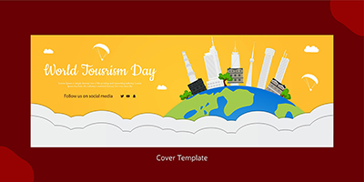 Flat cover template of world tourism day