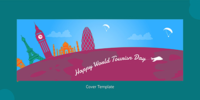 Flat coverpage template of world tourism day
