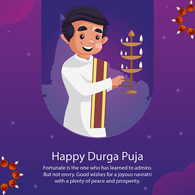Flat template banner of happy Durga puja