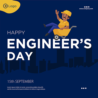 Flat template banner of happy engineer's day