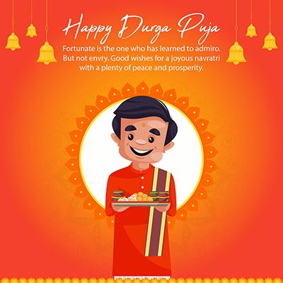 Flat template design for happy Durga puja