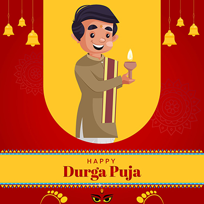 Flat template for happy Durga puja