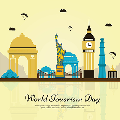 Flat template for world tourism day