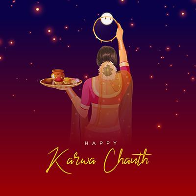 Flat template of happy karwa chauth
