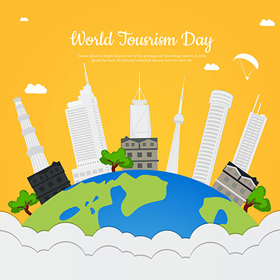 Flat template of world tourism day