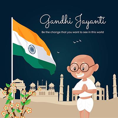 Gandhi Jayanti celebration day flat template