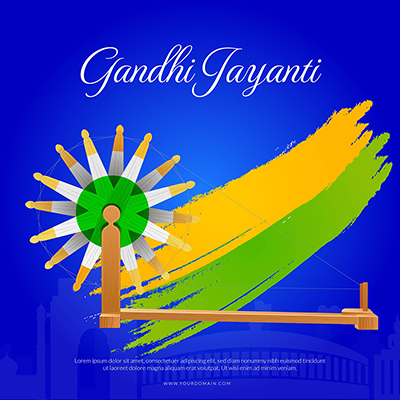 Gandhi Jayanti celebration day template banner