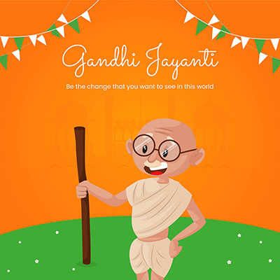 Gandhi Jayanti celebration day template design