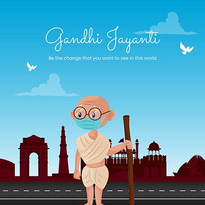Gandhi Jayanti flat banner template design