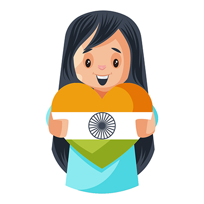 Girl is showing heart shape Indian flag