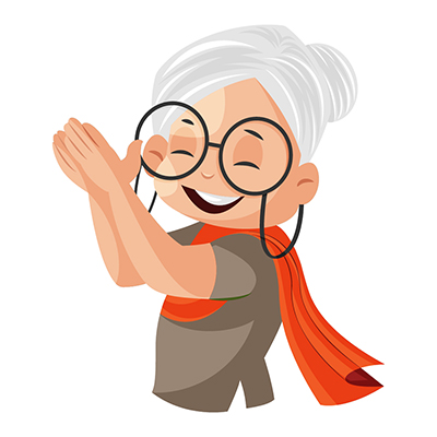 Granny illustration is clapping