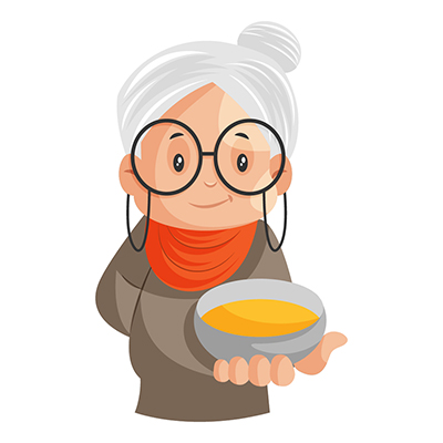 Granny is holding a bowl in hand