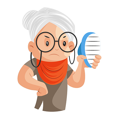 Granny is holding a brush in hand