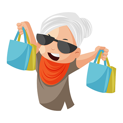 Granny is holding shopping bags in hands