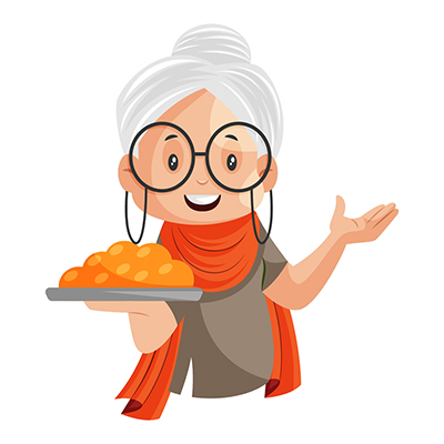 Granny is holding sweets plate in hand