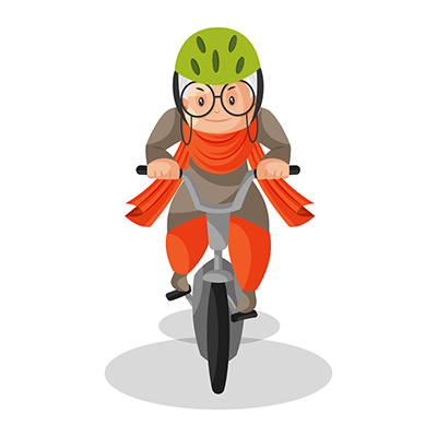 Granny is riding a bicycle