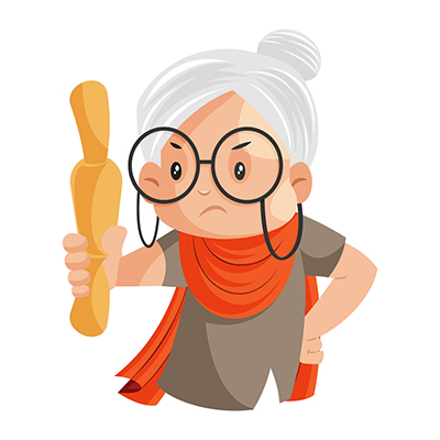 Granny is showing a rolling pin