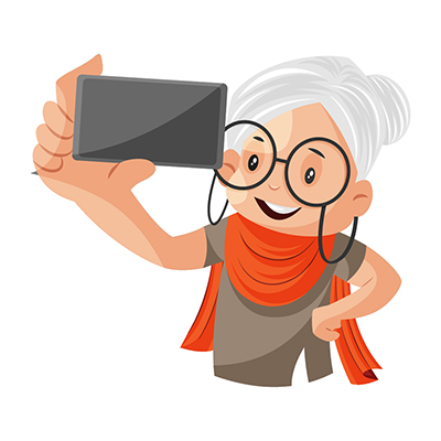 Granny is taking a selfie with a mobile
