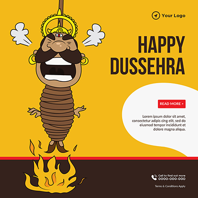 Happy Dussehra annual festival banner template