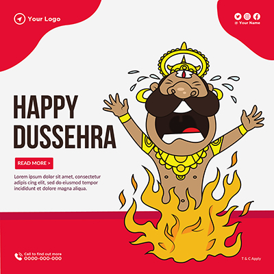 Happy Dussehra annual festival template banner
