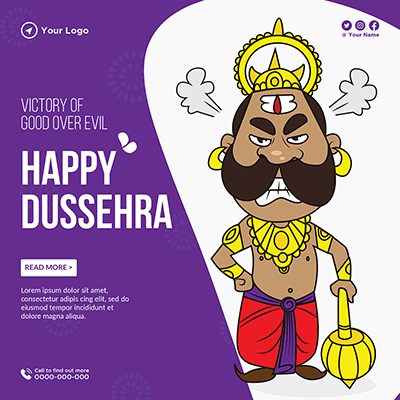 Happy Dussehra victory of good over evil banner template