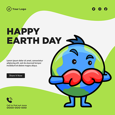 Happy Earth day banner template design