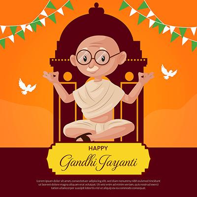 Happy Gandhi Jayanti banner design template