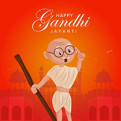 Happy Gandhi jayanti banner template design