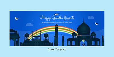 Happy Gandhi Jayanti event cover template