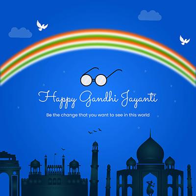 Happy Gandhi jayanti flat template banner