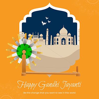 Happy Gandhi jayanti template banner