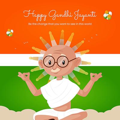 Happy Gandhi Jayanti template design banner