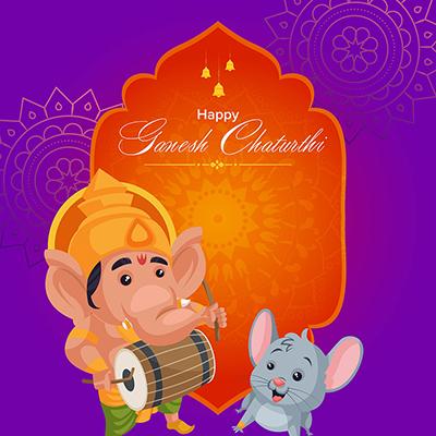 Happy Ganesh Chaturthi illustration banner template
