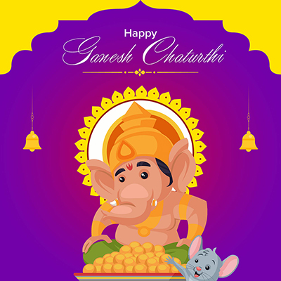 Happy Ganesh Chaturthi illustration banner template design
