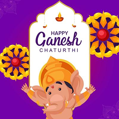 Happy Ganesh Chaturthi illustration template banner design