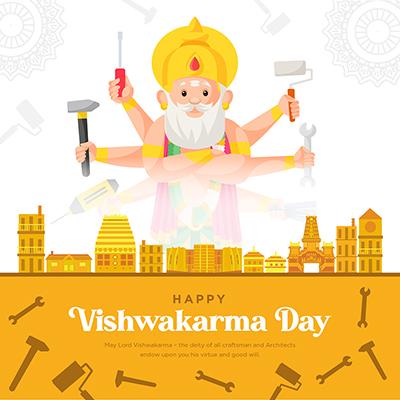 Happy Vishwakarma day banner template