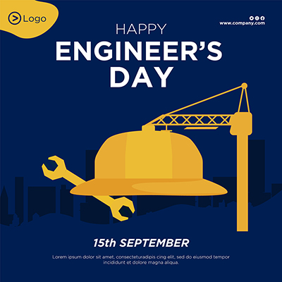 Happy engineer's day flat banner template