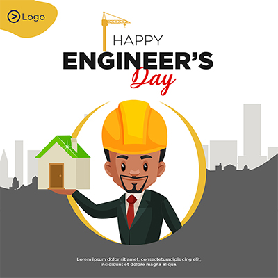 Happy engineer's day flat banner template design