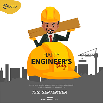 Happy engineer's day flat template