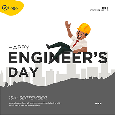 Happy engineer's day flat template banner