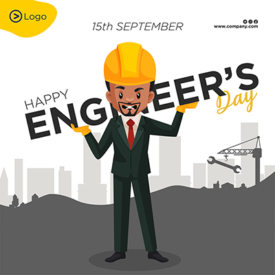 Happy engineer's day flat template banner design