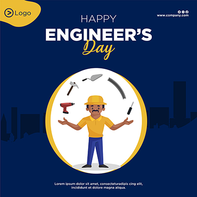 Happy engineer's day flat template design