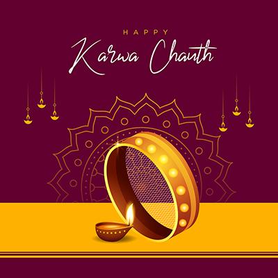 Happy karwa chauth celebration banner template