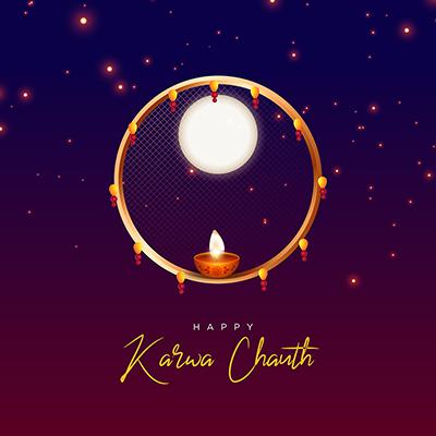 Happy karwa chauth celebration flat template banner