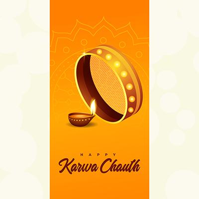 Happy karwa chauth celebration template design