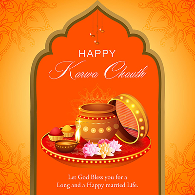 Happy karwa chauth festival on banner template
