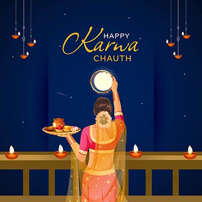 Happy karwa chauth festival on template design
