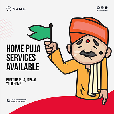 Home puja services available banner template
